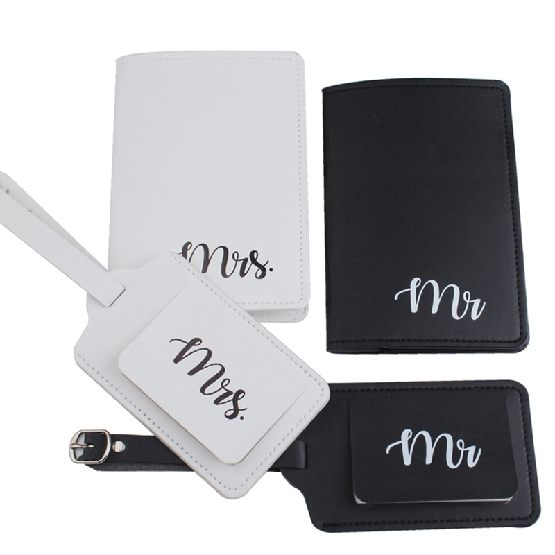 Zoukane 4pcs/set Mrs Mr Wedding Luggage Tag Passport Cover Set Leather Travel Accessories Case Tag Passport Cover Sets LT40CH19