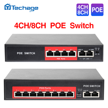 Techage 4CH 8CH 52V Network POE Switch With 10/100Mbps IEEE 802.3 af/at Over Ethernet IP Camera/ Wireless AP/ CCTV Camera System - discount item  50% OFF Transmission & Cables