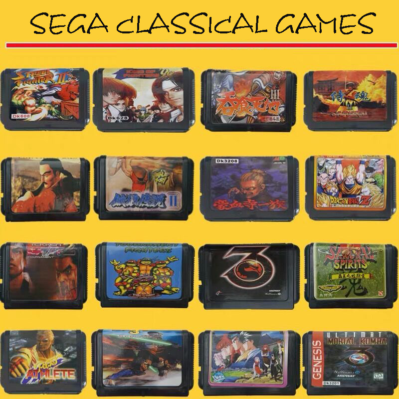 Stock 16 Bit Video Game Cartridge Region Free EUR/JAP Shells Sega Game Card Randomly Send!