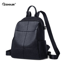 ZOOLER 100% Real Genuine Cow Leather Black White Soft Bag Women Design Backpack Lady Girl Quality Cowhide School Mochila