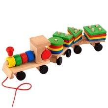 15,5 дюймов деревянные штабелируемые игрушки поезд с сортировщиком формы и штабелируемые блоки, игрушки для малышей, тяговые Игрушки для малышей