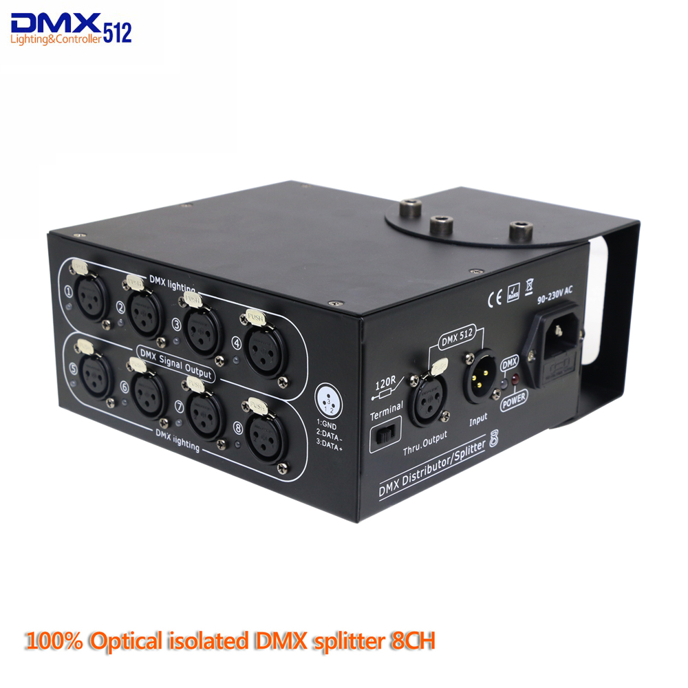 DMX Splitter 8 Channels dmx Distributor Controller 8 Way 100% Optical isolated For stage lighting|Stage Lighting Effect| |  - title=