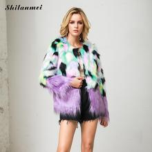 Purple Furry Faux Fur Coat Women Plus Size Contrast Color Fur Coat High Fashion Thicken Winter Fur Jacket Elegant Party Outwear