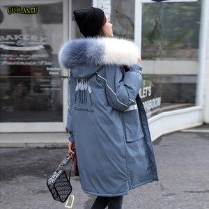 Image 1 - 冬の毛皮の襟フード付きコートの女性刺繍ジャケット女性厚く暖かい綿パッド入りジャケット生き抜くプラスサイズロングパーカーmujer