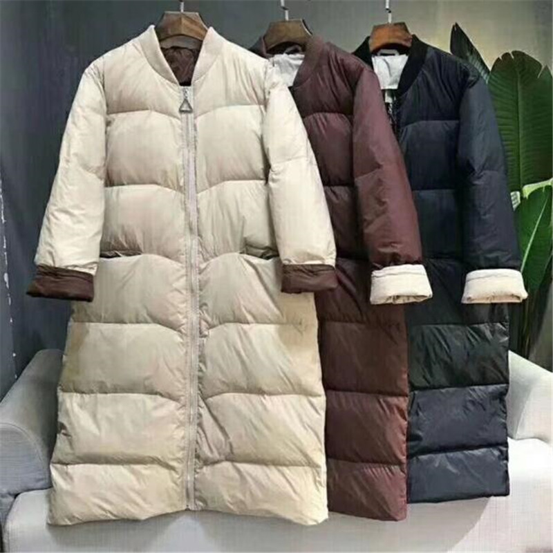 2019 New Korean Style Baseball   Down   Jacket   Coat   Loose Winter Long Outwear 90% White Duck   Down     Coat   Over Size