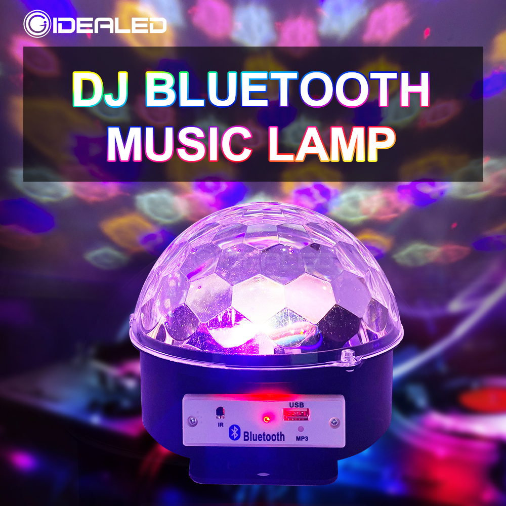 DJ RGB LED Stage Lights Bluetooth Control Laser Projection Lamp Sound Activated Rotating LED Disco Ball Party Light Strobe Light