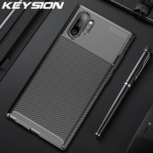 Funda para teléfono KEYSION para Samsung Galaxy Note 10 10 Plus 9 fibra de carbono TPU funda trasera para Samsung Galaxy S10 s10 + S10 más S10e S9(China)