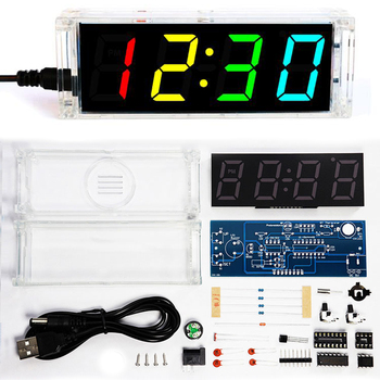 diy clock kit 4  digital tube multicolor LED time week temperature date display with clear case cover diy sodering project