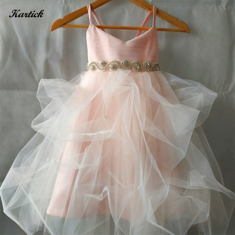 New Real Flower Girl Dresses with Bow Little Girls Kids/Child Dress for Wedding Princess Birthday Communion Party Pageant Dress