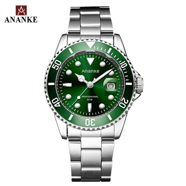 남성 시계 캐주얼 쿼츠 시계 남성 스테인레스 스틸 Ananke 최고 브랜드 럭셔리 방수 Relogio Masculino Esportivo 시계