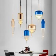 IKVVT Modern Simple Water Drop Glass Pendant Lights Creative Golden Led Hanging Lamp for Home Livingroom Restaurant Decoration