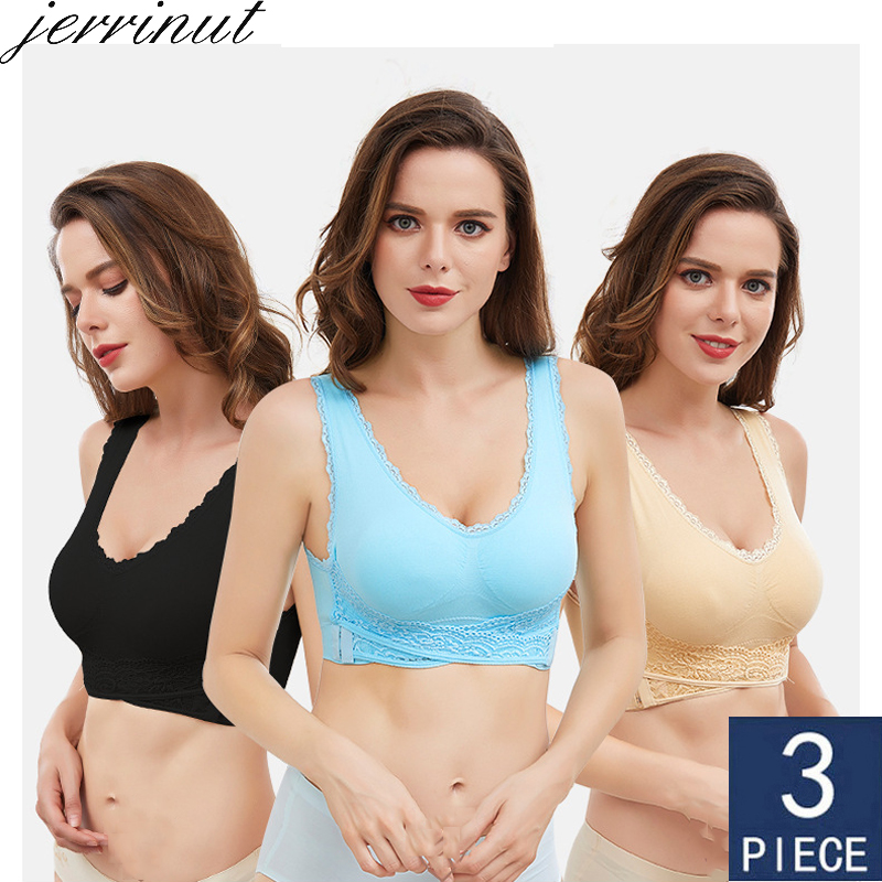 3pcs/set Plus Size Lace Bra Push Up Bralette Brassiere Bras For Women Solid Color Cross Side Buckle Underwear Women Sleep Bra