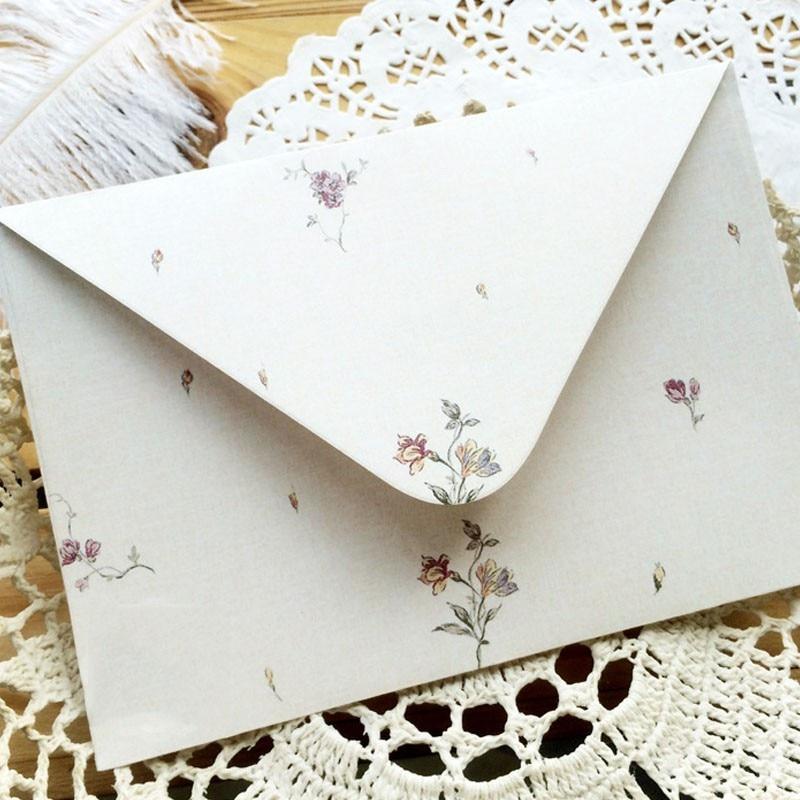Элегантные конверты с цветочным рисунком, 10 шт., бумага с буквами, свежие канцелярские товары, приглашение на День святого Валентина и празд...