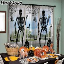 Window-Curtain Home-Decoration Black Halloween Web Ourwarm 101x213 Lace Party-Supplies