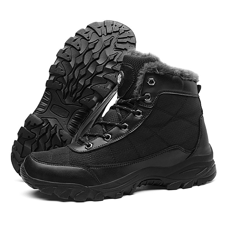 SUROM Winter Snow Boots Men Outdoor Warm PU Polyester Shoes Non-slip Thick Sole Rubber Boots Super Big Size 39-49 Male Footwear