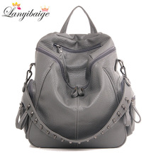 3-in-1 Brand Woman Backpack High Quality Leather School Bags Rivet Moto Style Women Backpacks Vintage Soft Lady Shoulder Bags