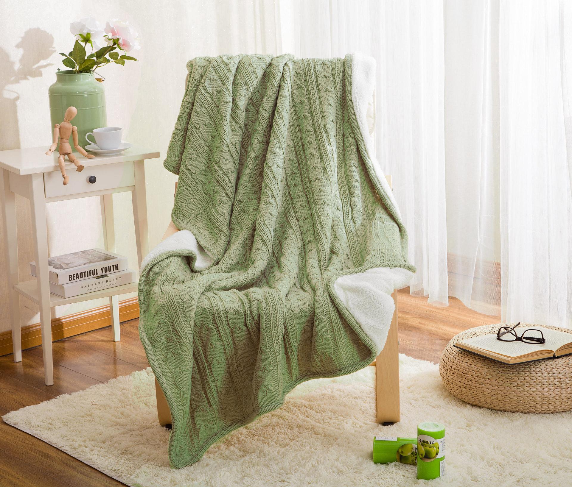 100% хлопок, высокое качество, овечье вельветовое одеяло, зимнее теплое вязаное шерстяное одеяло, диван/покрывало для кровати, одеяло, вязаное... - 2