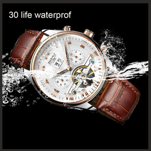 Image 3 - KINYUED Skeleton Tourbillon Mechanical Watch Men Automatic Classic Rose Gold Leather Mechanical Wrist Watches Reloj Hombre 2019
