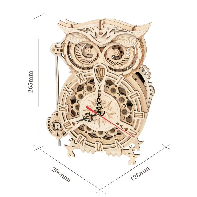 Robotime ROKR 3D Wooden Puzzle Owl Clock Model Building Kit Toys for Children Kids Boys LK503 7