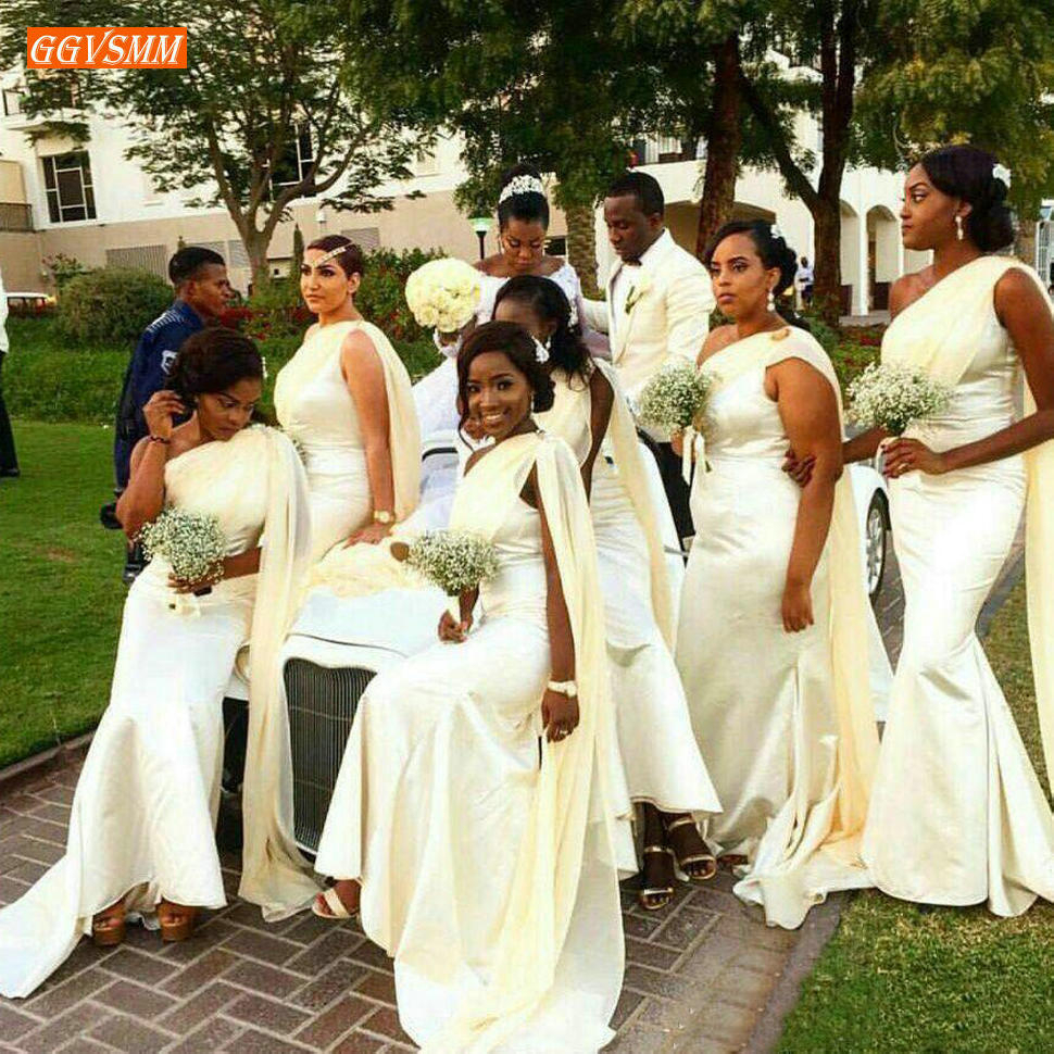 Graceful African Girls Mermaid Long Bridesmaid Dresses One Shoulder Satin Floor Length Wedding Guest Party Maid Of Honor Dress