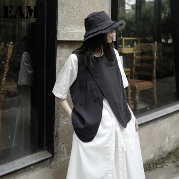 [EAM] Women Loose Fit Black Irreuglar Split Temperament Vest New Round Neck Sleeveless   Fashion Tide Spring Autumn 2021 1DB169 1