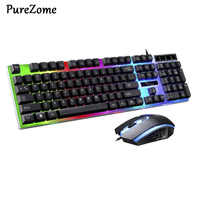 USB Charging Light Keyboard & Mouse Kit Rainbow LED Gaming Equipment For PS4 Xbox One