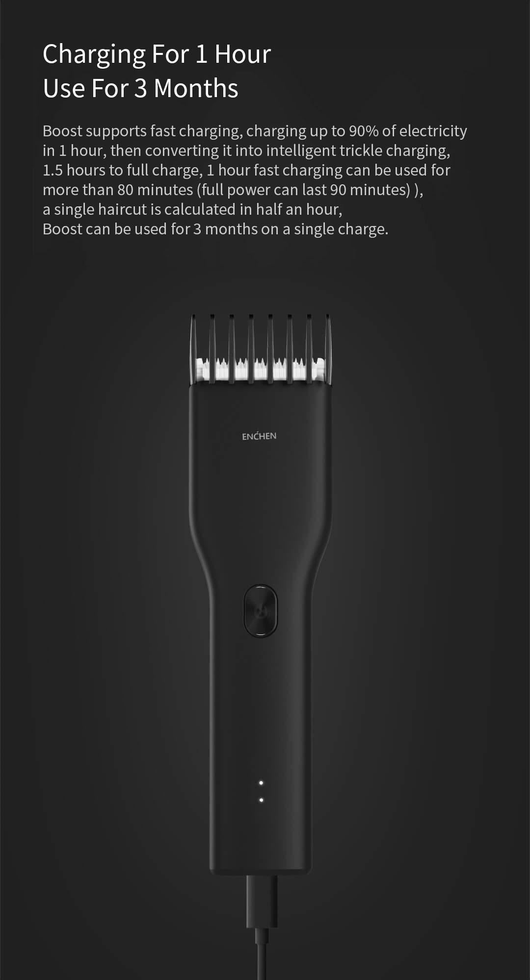 Xiaomi ENCHEN Boost USB Electric Hair Clipper Two Speed Ceramic Cutter Hair Fast Charging Hair Trimmer Children Hair Clipper 3