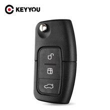 KEYYOU-llave de coche en blanco con 3 botones, cubierta de mando a distancia para Ford Focus Fiesta C Max Ka, 10X