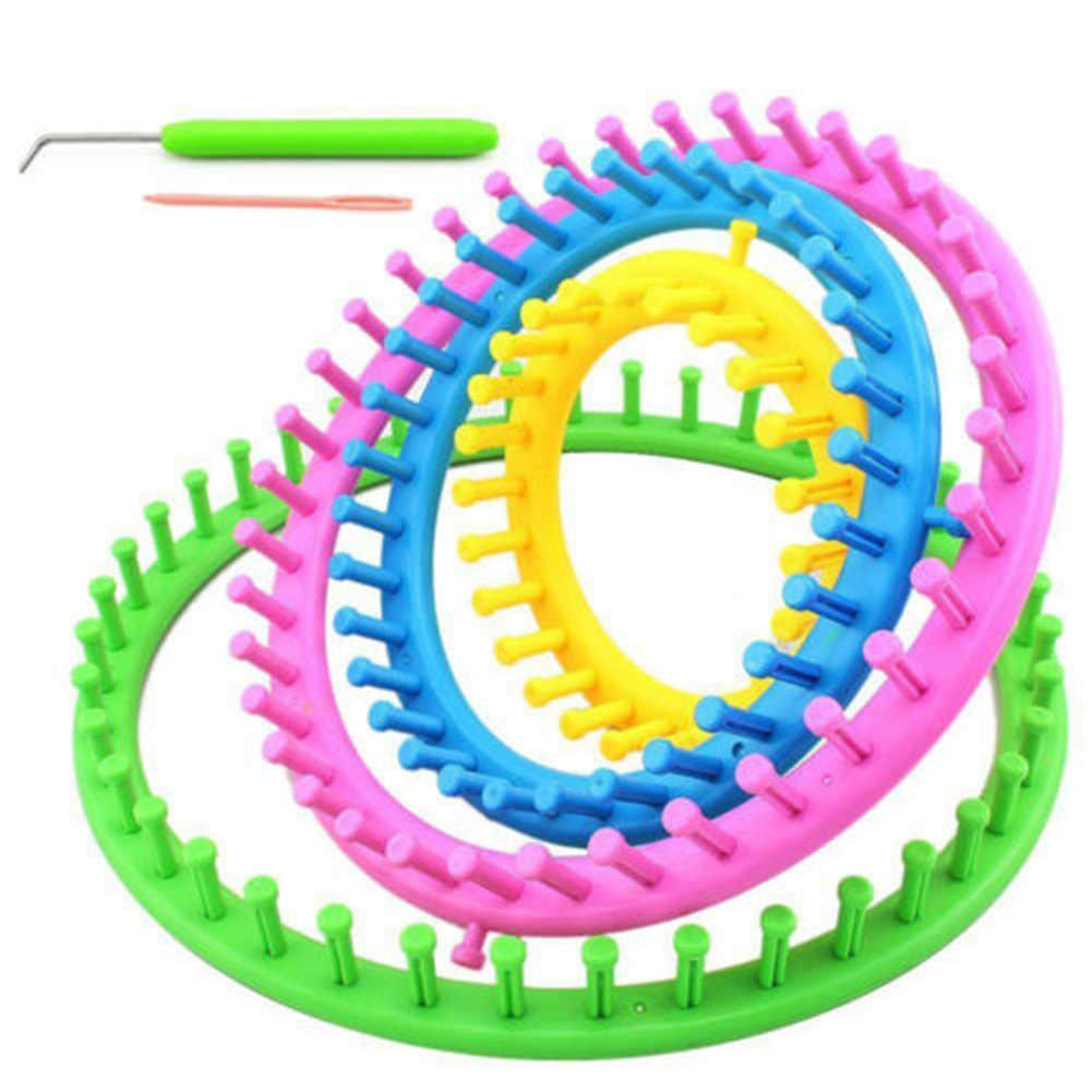 Yuvarlak örgü tezgahları Set kiti Weaver örgü makinesi DIY kazak Weaver oyalamak tığ kanca seti yuvarlak örgü