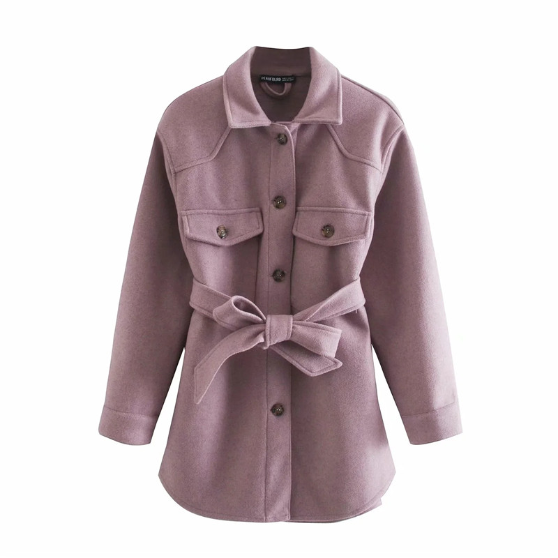 Merodi Autumn Chic Ladies Za Woolen Purple Long Shirt Jackets With Belt Women Fashion Turn Down Collar Thick Warm Outwear Coats