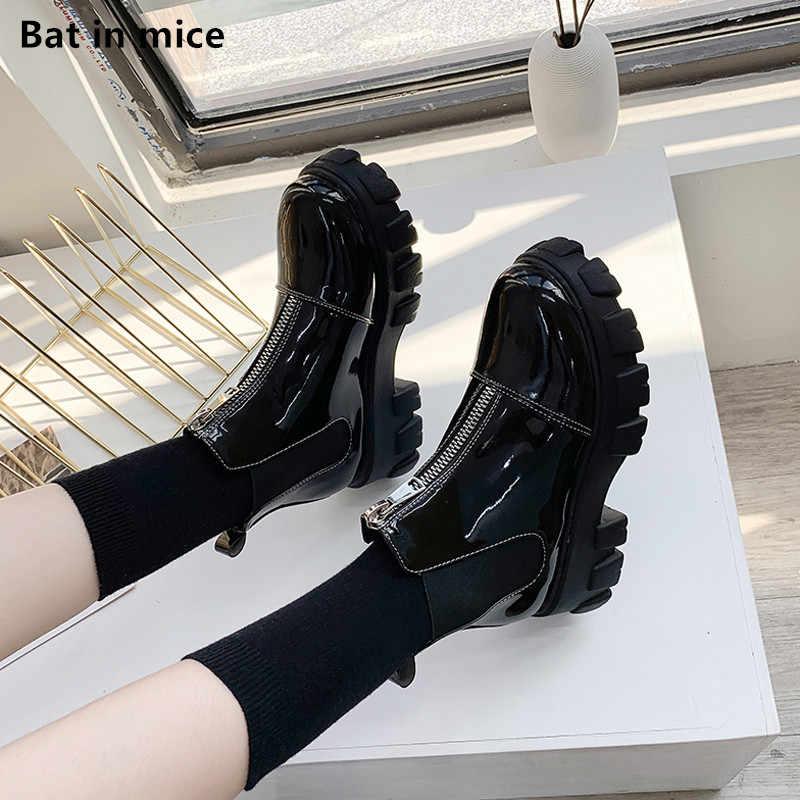 Kadın pompaları elbise ayak bileği Martin çizmeler ayakkabı kadın platformu rahat yuvarlak ayak fermuar kış sıcak kar botları kadın botas mujer t059