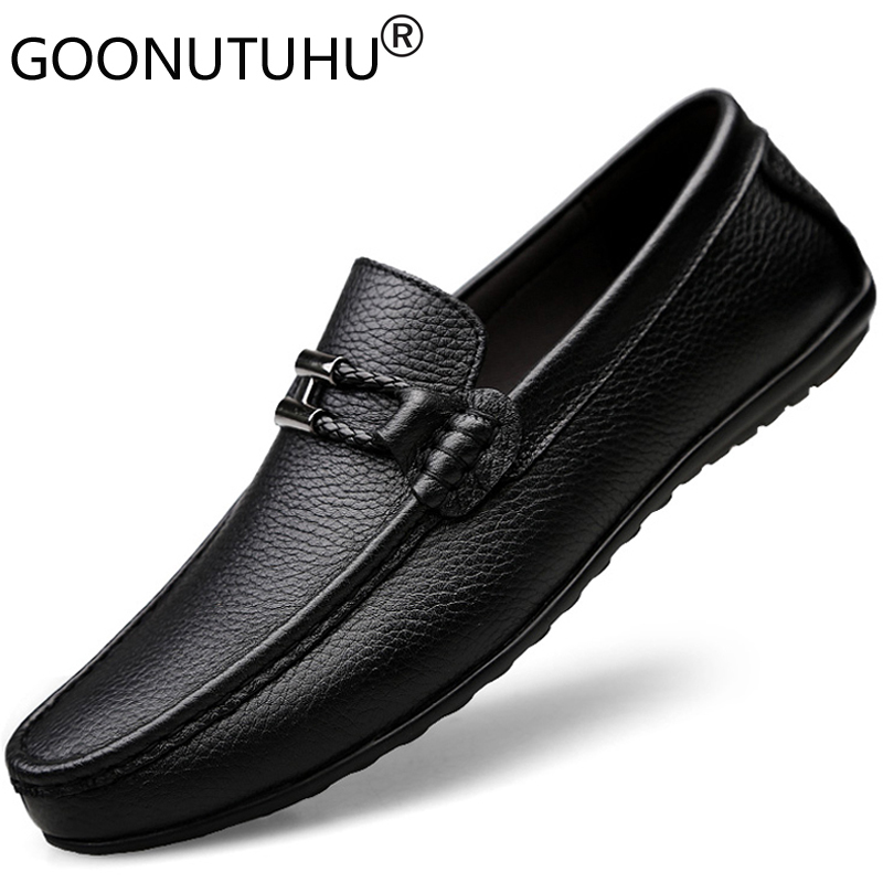 Men's Shoes Casual 2019 Autumn Genuine Leather Loafers Classic Black Platform Shoe Man Youth Trend Driving Slip-on Shoes For Men