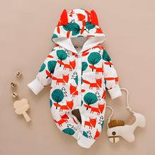 Get more info on the New Born Baby Clothes Infant Newborn Baby Boys Girls Cartoon Print Ear Hooded Romper Jumpsuit Outfits Baby Winter Clothes 9.12