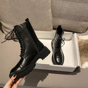 Winter Boots Women Genuine Leather Martin Boots Quality Women's Shoes Thick Heel Ankle Boots Platform Shoes Woman Botines Mujer winter boots ankle zip women shoes martin boots fashion casual shoes woman square heel med 3cm 5cm round toe platform shoes