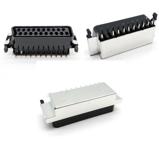CS 107 PBE 21Pin way SCART Jack set top set top box STB Socket Connector With shield  double dual row pcb mount