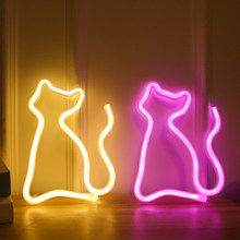 Led Neon Light Cat Neon Led Lamp Moon 520 Love Hanger Whale Neon Sign for Home Decorat Party Wedding Xmas Wall Lamp(China)