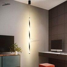 Modern Minimalist LED Black/white Spiral Pattern Pendant Lamp Nordic Design Line Lights Bedroom Study Loft Hanging