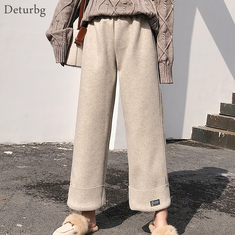 Plus Size Women's Brief Woolen Straight Pants Female Korean Casual High Waist Thick Warm Turn-up Black Trousers 2019 Winter PA80