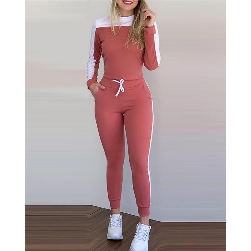 WEPBEL Women Set Autumn Long Sleeve Patchwork Hoodie Sweatshirt + Pant Set Skinny Streetwear Tracksuit Drawstring Jogging Set