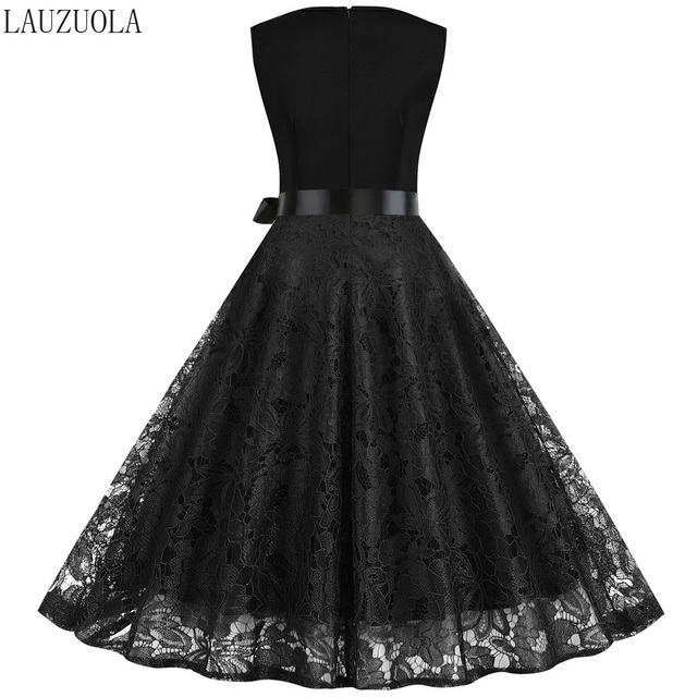 Blak Lace Summer Dress Women 2020 Pinup Elegant Vintage Party Dresses Casual Vestidos Office Tank Sleevelss A Line Plus size 3XL 52