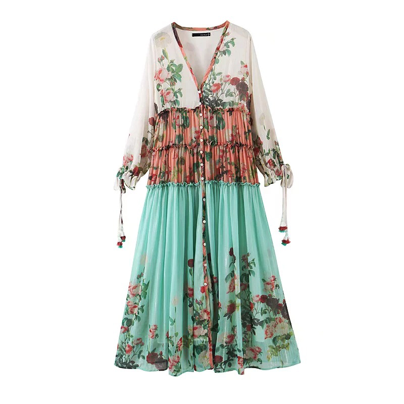 Spring Floral Maxi Dress V Neck Long Sleeve Patchwork Vintage Bohemian Beach Casual Women Long Dress