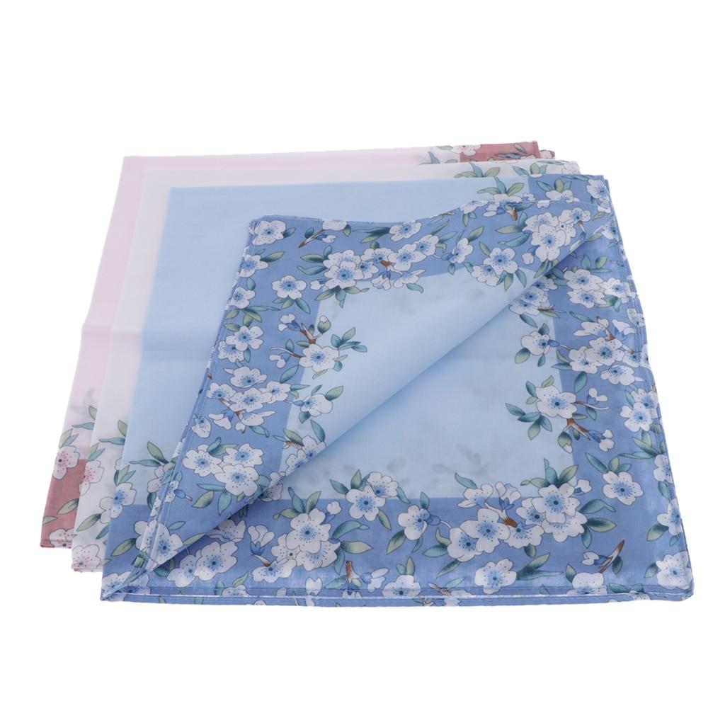 43X43cm Women Pocket Handkerchief 3pc Cloth Towel Hankerchiefs Towel Hankie Washcloth Handkerchief