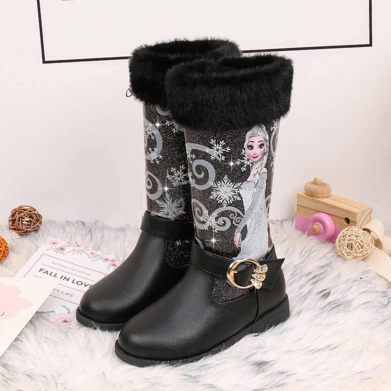 Kids  shoes Children Princes Cartoon Boots quality leather Fur lining Winter Boots New girls Warming Knee-high boots