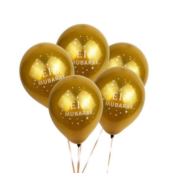Twins Party 10pcs Eid Mubarak Balloons Gold Silver EID Balloons Eid Al Adha EID MUBARAK Balloons RAMADAN KAREEM EID Party Decor