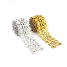 Лента из стразов золотого и серебряного цветов мотивы лента