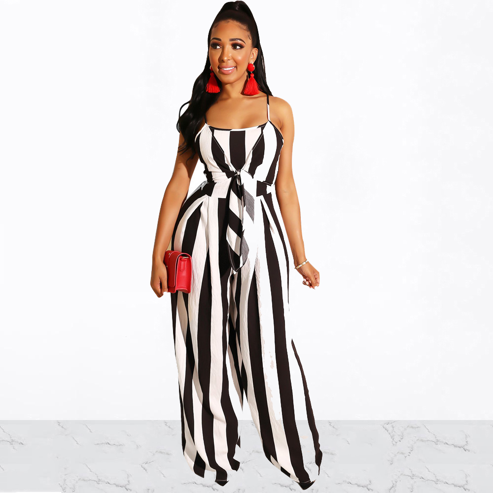 Sexy Waist Striped Long Jumpsuit Spaghetti Straps Playsuit Front Tie Long Wide Pant Bodysuit Summer Beach Rompers