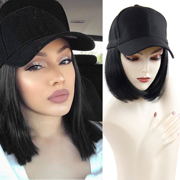 houyan sbaseball hat straight hair heat resistant fiber wig synthetic short heat resistant fiber cut short wig Baseball Cap Short Wigs for Women Heat Resistant Fiber Black Hair Wig with Hat Peruca Synthetic Bob Wig
