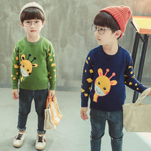 Toddler Baby Boy Sweater With Deer Kids Cartoon Knit Sweaters Cute Animal Pattern Spring Autumn Knitted Tops For Boys
