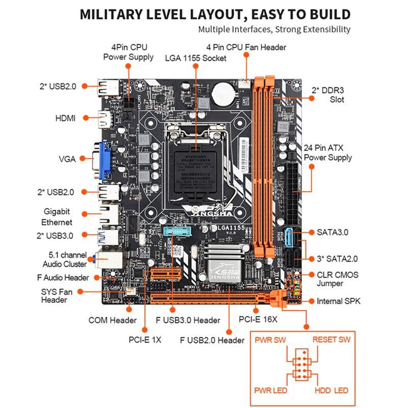 JINGSHA B75 motherboard set mit Intel Core I5 3470 2x8GB = 16GB 1600MHz DDR3 Desktop speicher USB 3,0 SATA 3,0