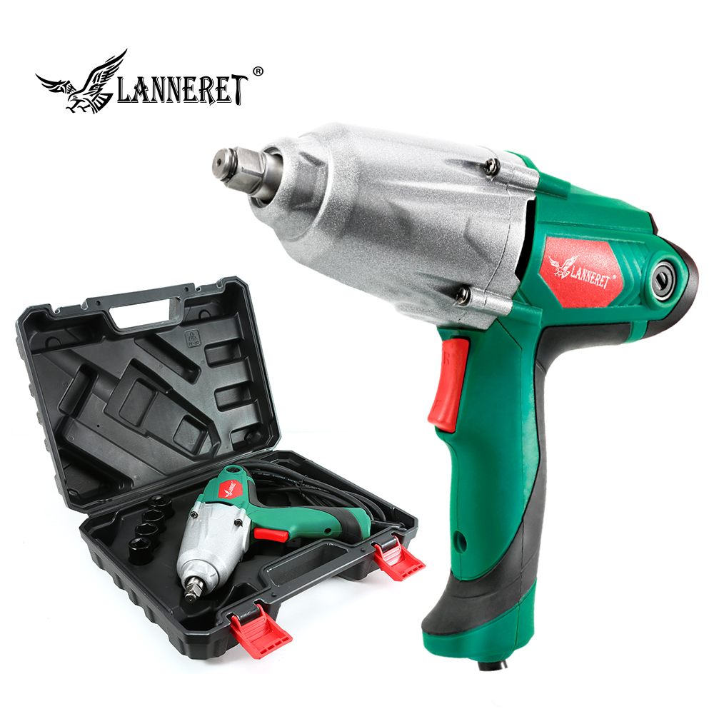 LANNERET 450W Electric Impact Wrench 300Nm Max Torque 1/2 inch Car Socket Electric Wrench Changing Tire Tool-in Electric Wrenches from Tools on